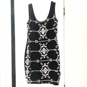 Xhilaration Black & White Aztec Bodycon Dress